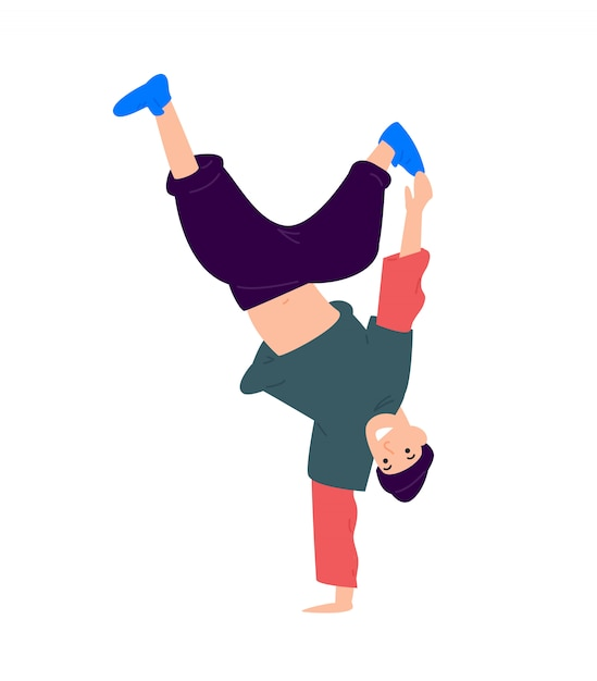 Illustration of a guy dancing upside down. Premium Vector