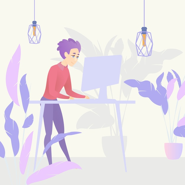 Illustration guy standing table working computer Premium Vector