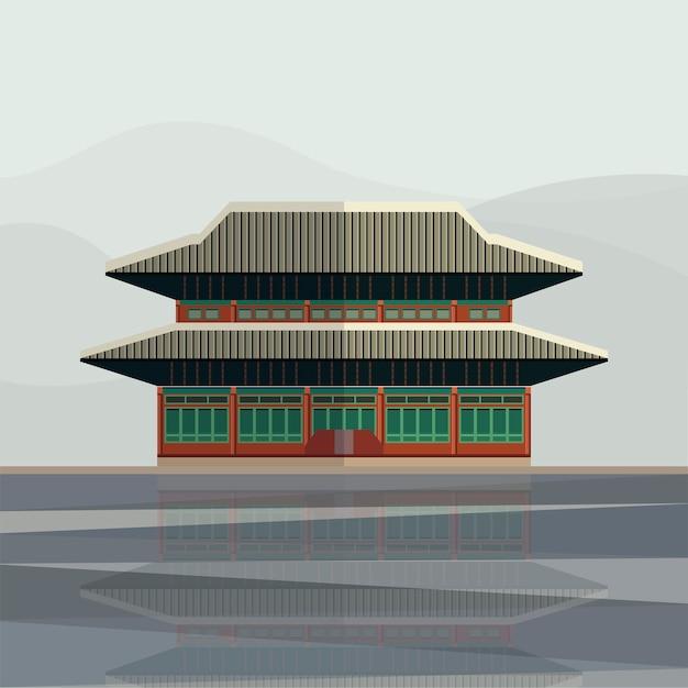 Illustration of gyeongbokgung palace Free Vector