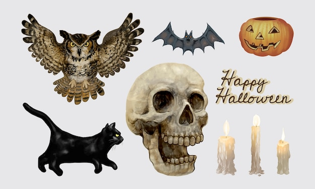 Illustration of halloween themed icons Free Vector