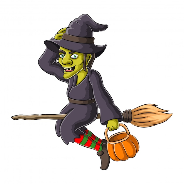 Illustration of halloween witch flying on broom Premium Vector