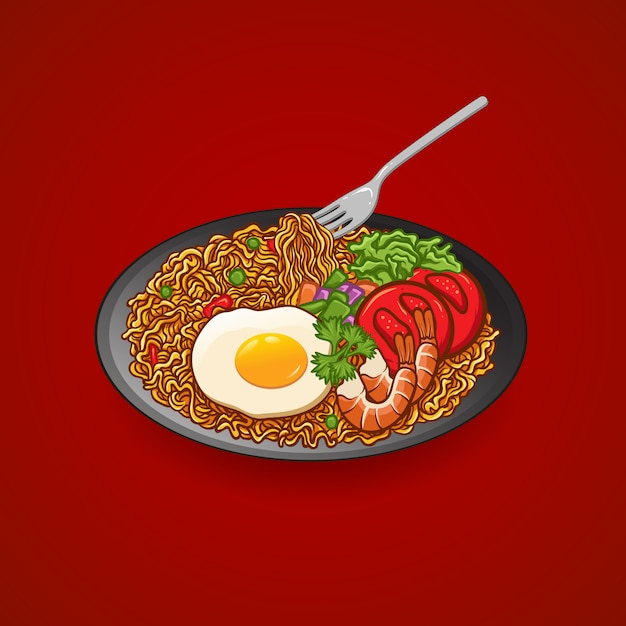 Illustration hand drawing vector noodle with egg, tomato, shrimp, cucumber, celery, plate and fork Premium Vector