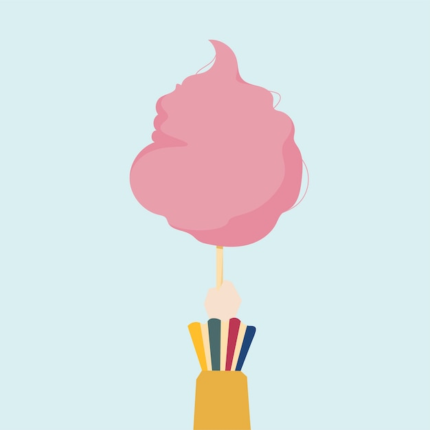 Illustration of a hand holding cotton candy Free Vector