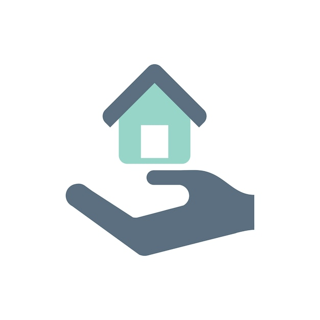 Illustration of hand under the house for real estate icon Free Vector