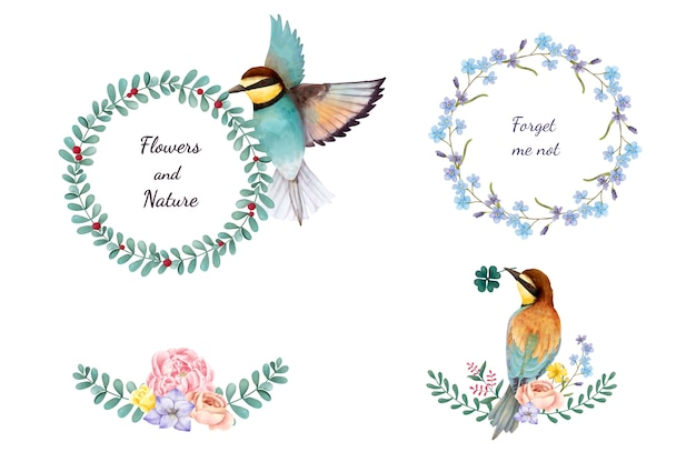 Illustration of hand painted flowers and birds isolated on white background Free Vector