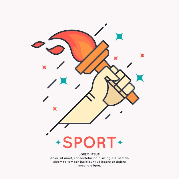 Illustration hand with a burning torch for sports games in cartoon graphic style Premium Vector