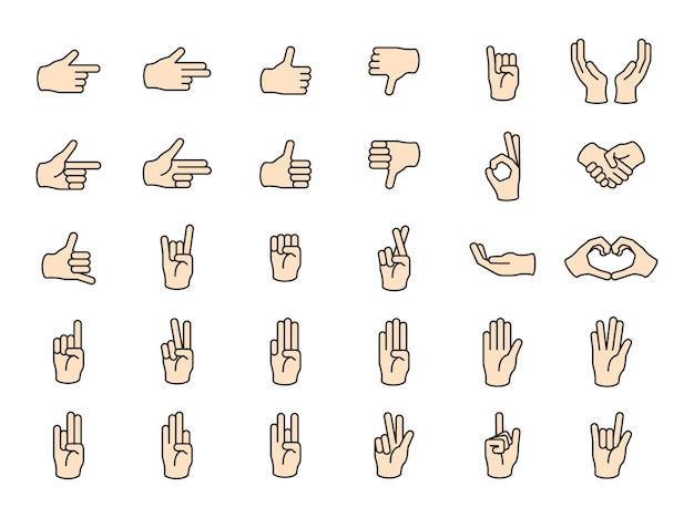 Illustration of hands gesture set in thin line Free Vector