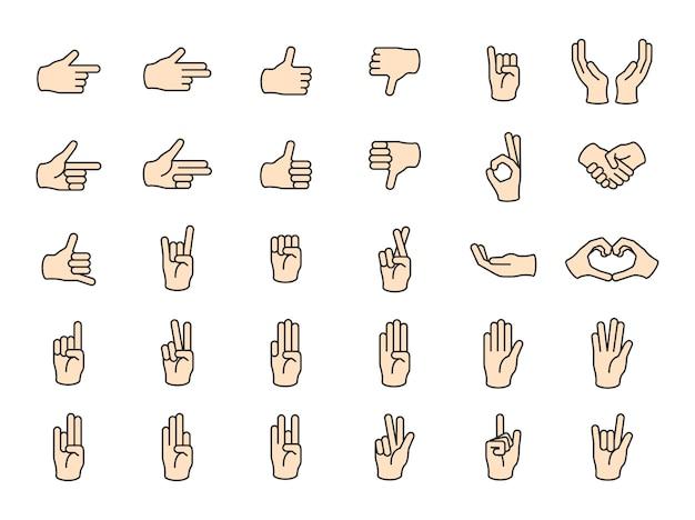 L'illustrazione del gesto di mani ha impostato nella linea sottile Vettore gratuito