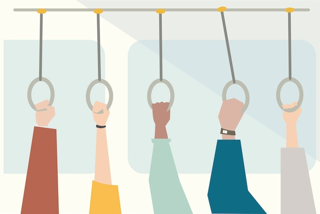 Illustration of hands holding bus handle Free Vector