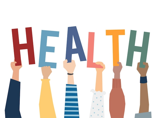 Illustration of hands holding health word Premium Vector