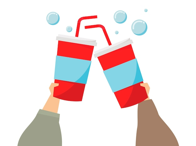 Illustration of hands holding soda drinks Free Vector
