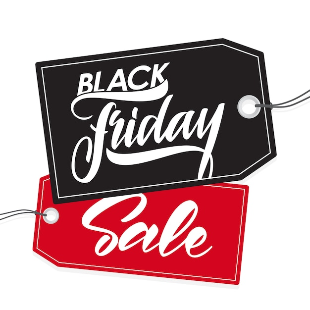 Illustration: handwritten type lettering of black friday sale on tags Premium Vector