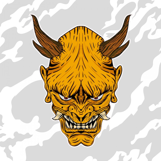 Illustration of hannya the traditional japanese demon oni mask gold Premium Vector