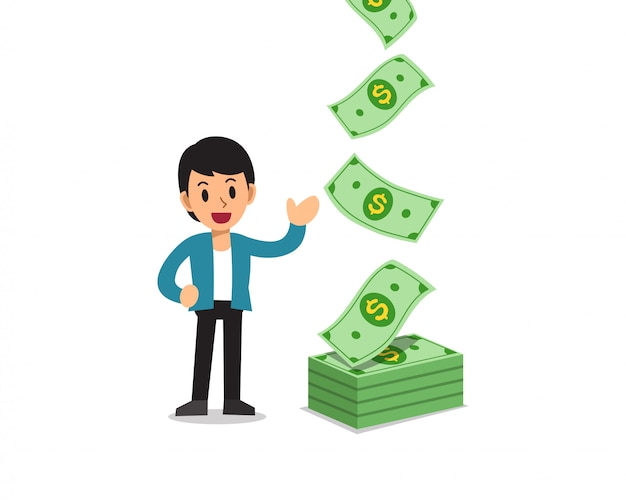 Illustration of happy businessman with money banknotes cash falling Premium Vector