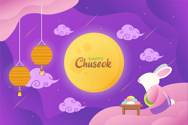 Illustration of happy chuseok with cute rabbit staring to the moon with lanterns and cake Premium Vector