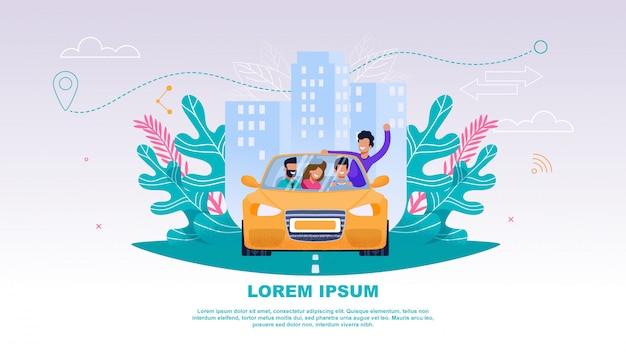 Illustration happy company people in car Premium Vector