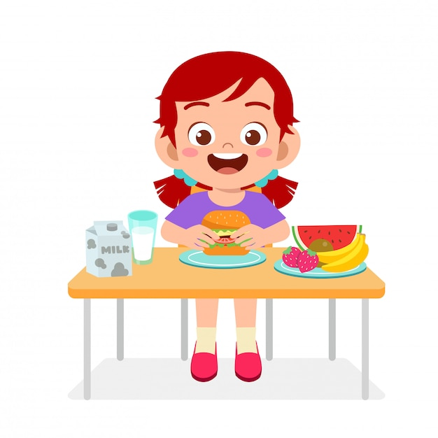 Illustration of happy cute girl eat healthy food | Premium ...