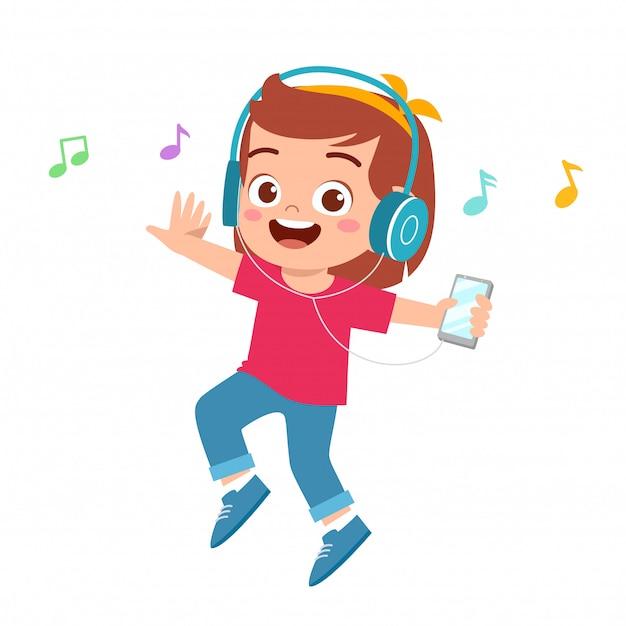 Illustration of happy cute girl listen to music Premium Vector