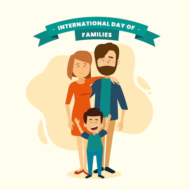 Illustration of happy family being together Free Vector