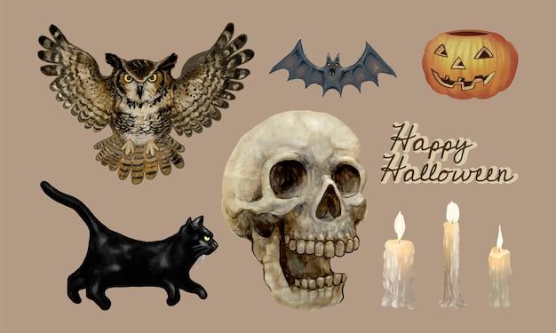 Illustration of happy halloween icons Free Vector