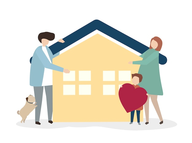 Illustration of a happy and healthy family Free Vector