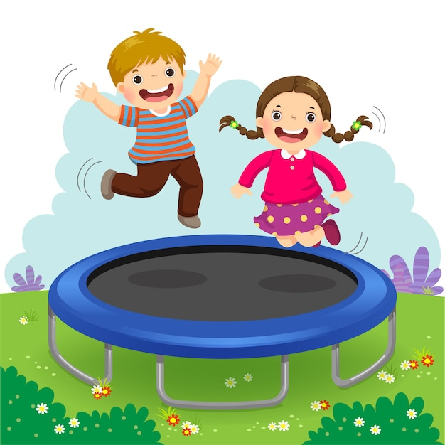 Illustration of happy kids jumping on trampoline in the backyard Premium Vector