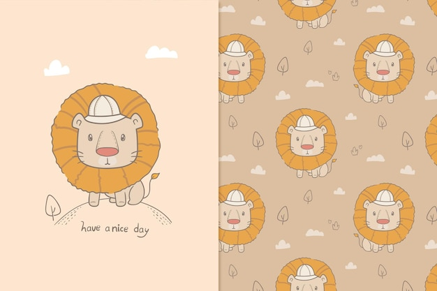 Illustration have a nice day lion seamless pattern Premium Vector