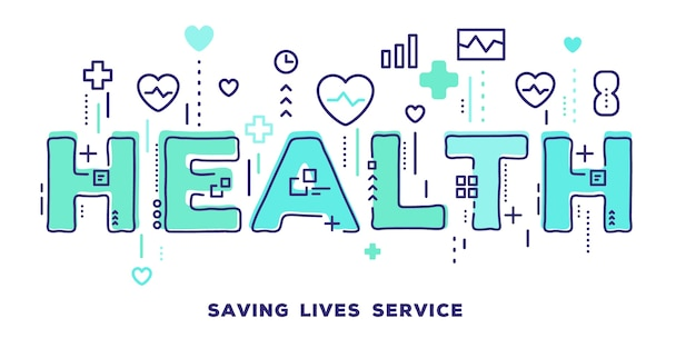 Illustration of health green word typography with line icons and tag cloud health care Premium Vector