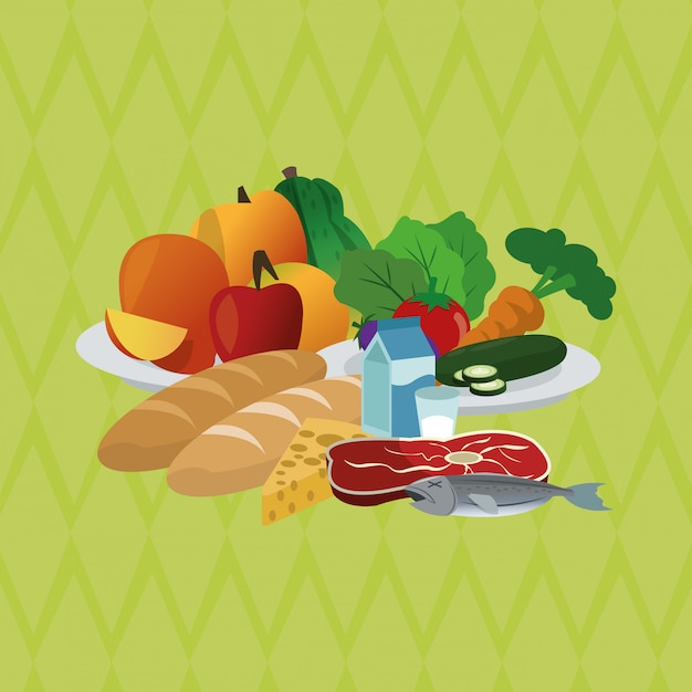 Illustration of healthy food, food and nutrition related Premium Vector