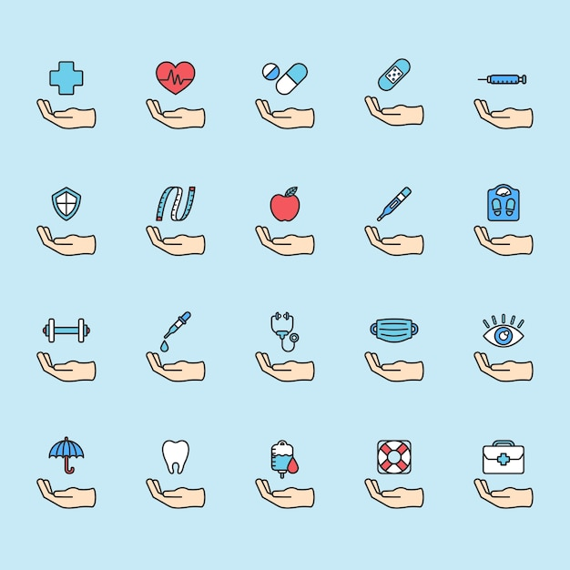 Illustration of healthy living icons set Free Vector