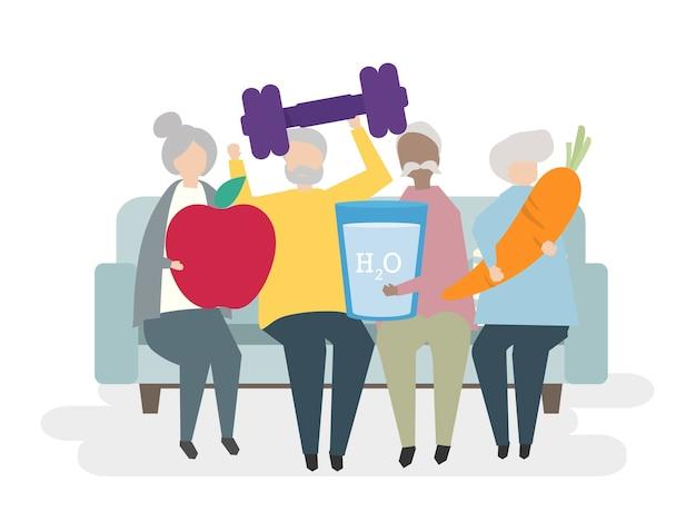 Illustration of healthy seniors Free Vector