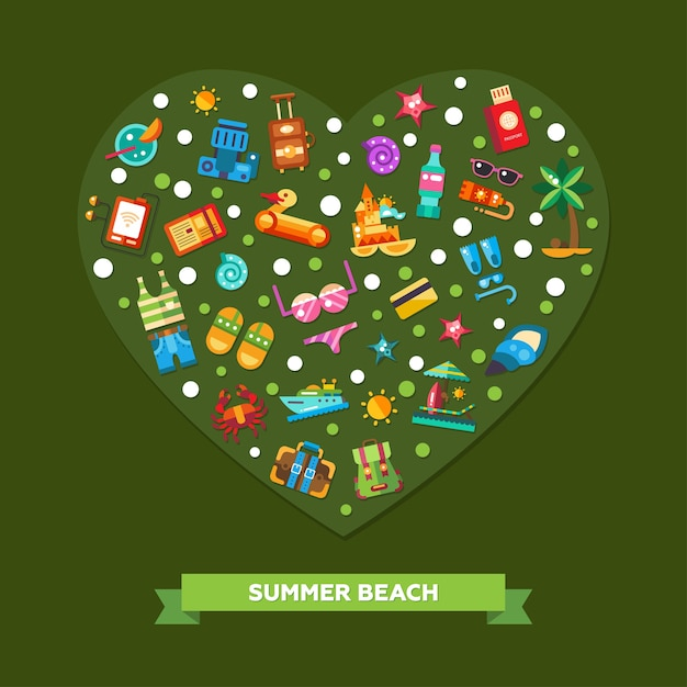 Illustration of heart composition of  modern   seaside travel vacation icons and infographics elements Premium Vector