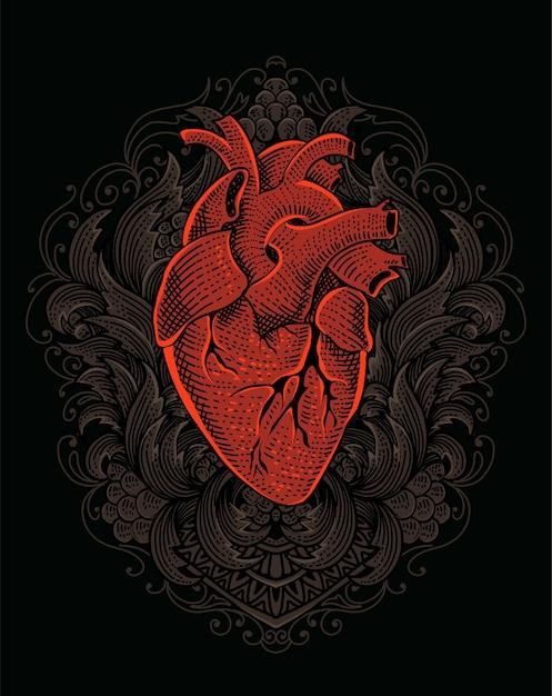 Иллюстрация сердца с гравировкой старинного орнамента Premium векторы
