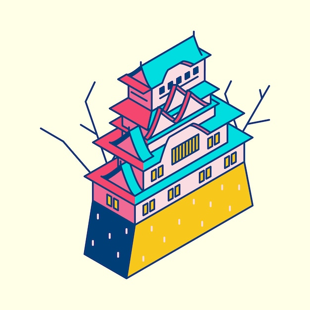 Illustration of himeji castle in japan Free Vector