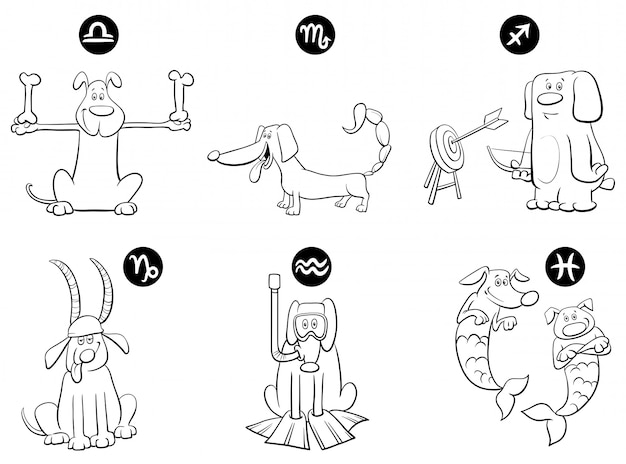 Illustration of horoscope zodiac signs with dogs set Vector