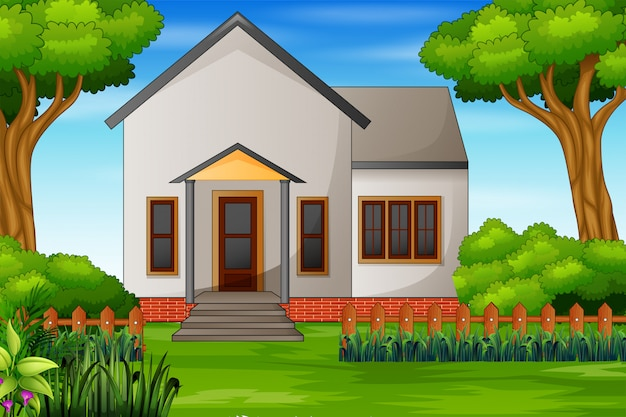 Illustration of a house with a green courtyard Premium Vector