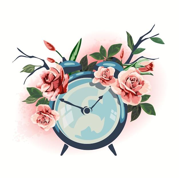 花で飾られたイラスト家庭用品目覚まし時計。 Premiumベクター