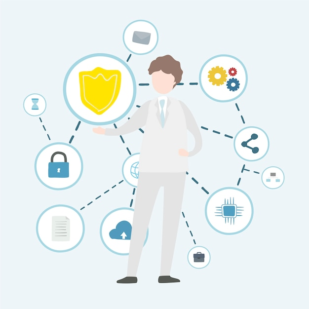 Illustration of human avatar using technology Free Vector