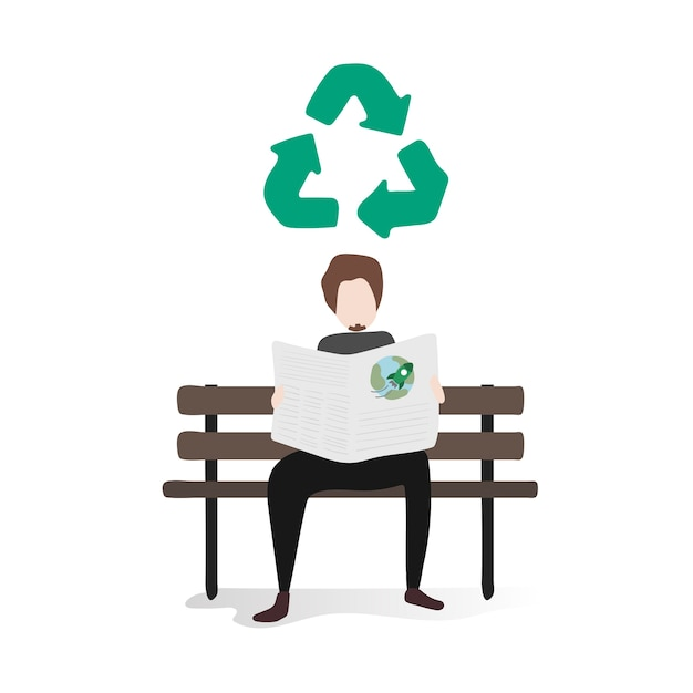 Illustration of human avatar with environment Free Vector