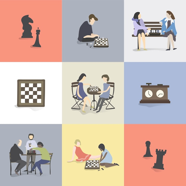 Illustration of human hobbies and activities Free Vector