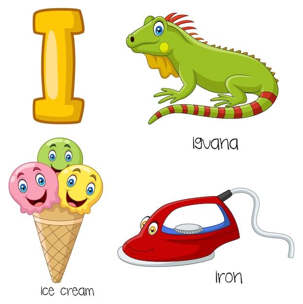 Illustration of i alphabet Premium Vector
