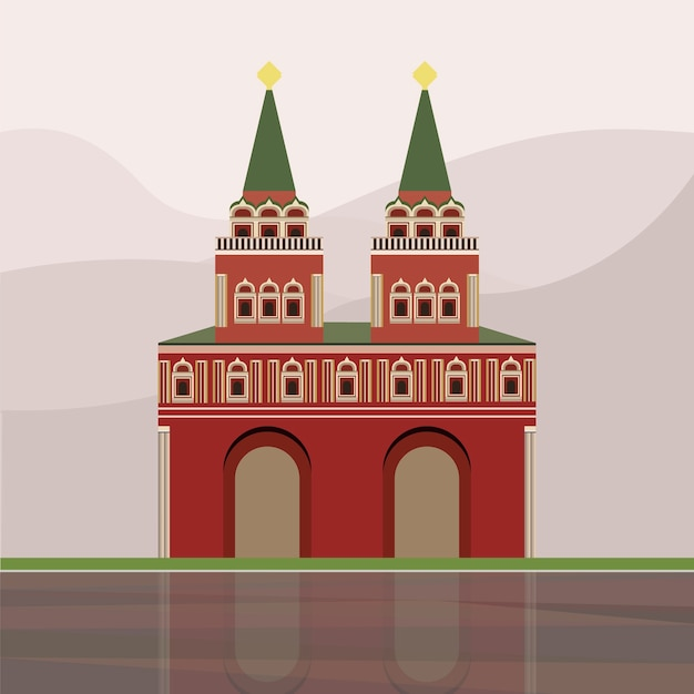 Illustration of iberian gate and chapel Free Vector