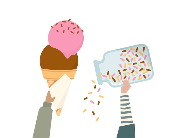 Illustration of an ice cream cone with rainbow sprinkles Free Vector