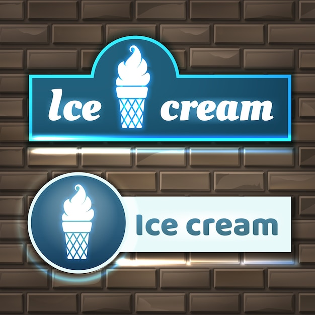 Illustration of ice cream neon sign boards on brick wall Free Vector