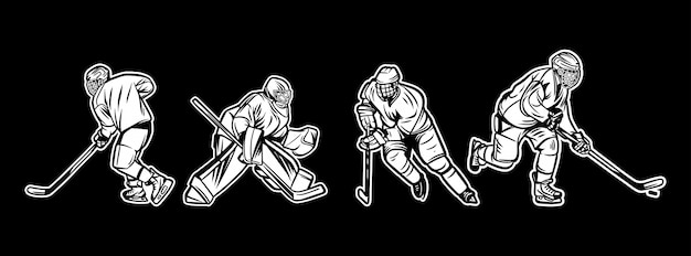 Illustration ice hockey player black and white pack Premium Vector