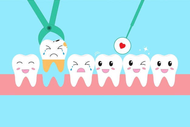 Illustration icon set of healthy teeth and problem of tooth loss Premium Vector