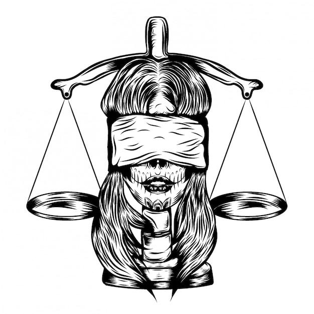 正義の法律と盲目の女性のイラストイラスト Premiumベクター