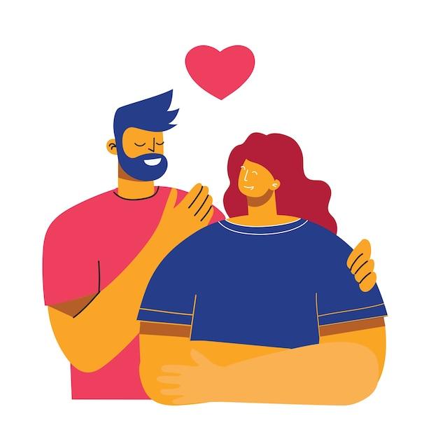 Иллюстрация в плоском стиле счастливых влюбленных пар Premium векторы