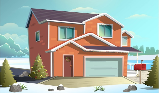 ガレージ付きの赤いクリスマスコテージ家と雪の中で冬の国側通りのフラットスタイルのイラスト。 Premiumベクター