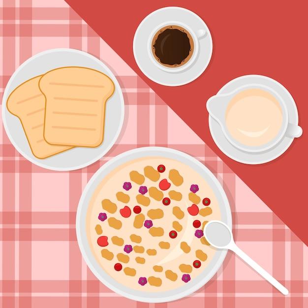 Иллюстрация в плоском стиле с мюсли, молоком, кофе и тостами Premium векторы